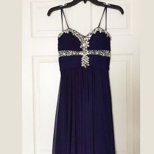 Cache strapless prom dress evening gown purple